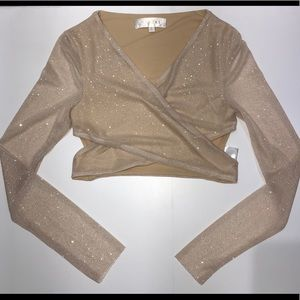 Meshki glitter long sleeve crop top